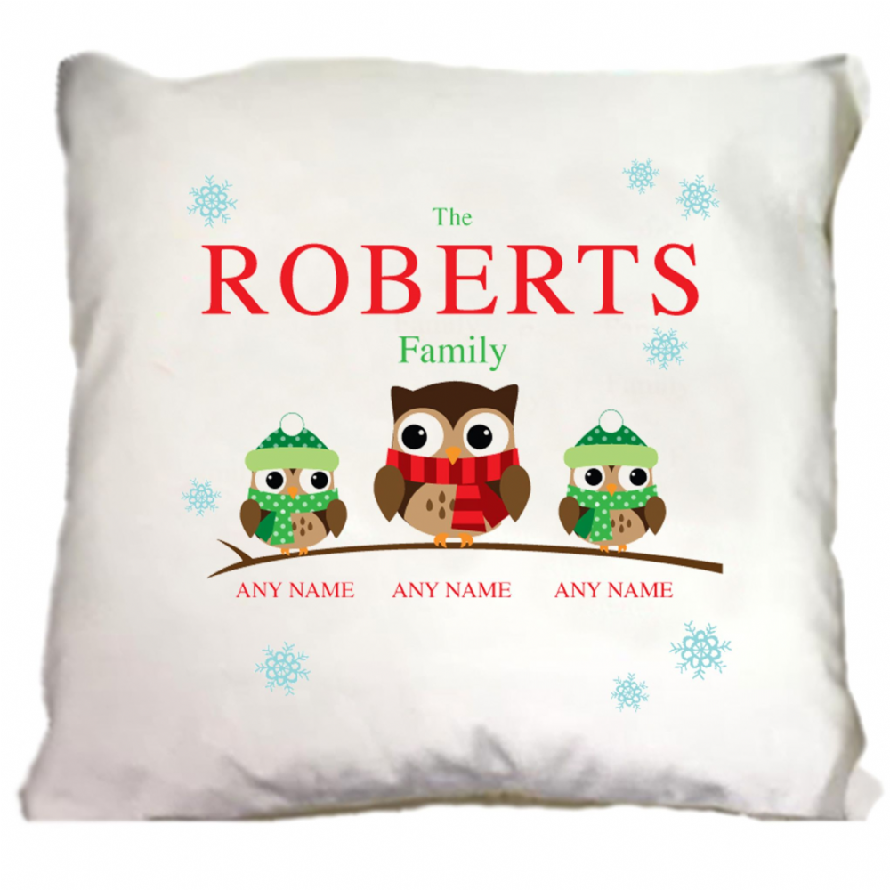 Personalised Owl Family of 3 Christmas Cushion